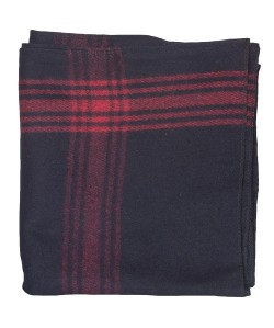 Wool Blanket Red-Striped Navy